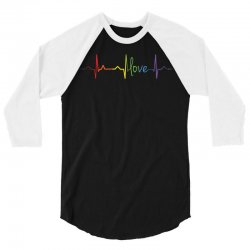 love heart beat gay lesbian lgbt pride t shirt 3/4 Sleeve Shirt | Artistshot