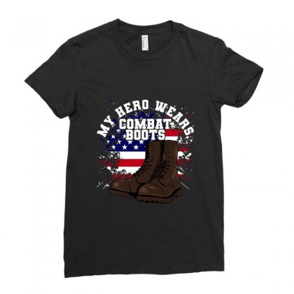 My Hero Wears Combat Boots Ladies Fitted T-shirt Designed By Zeynepu