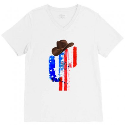 American Cactus V-neck Tee Designed By Hasret