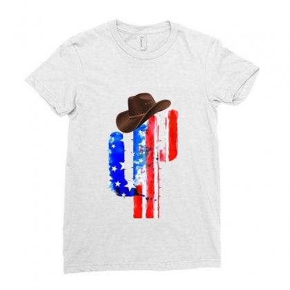 American Cactus Ladies Fitted T-shirt Designed By Hasret