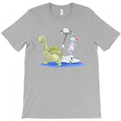 Turtle And Rabbit Running T-shirt Designed By Akin