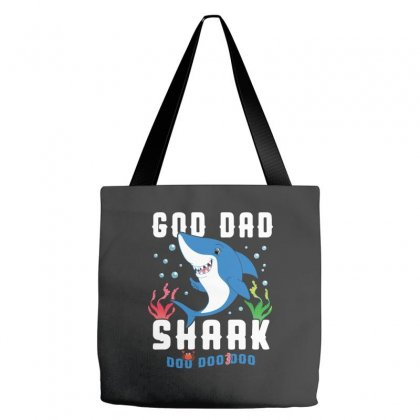 God Dad Shark Family Matching Tote Bags Designed By Artees Artwork