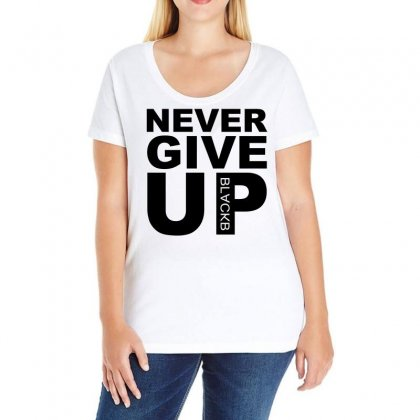 Never Give Up Blackb Ladies Curvy T-shirt Designed By Omer Acar