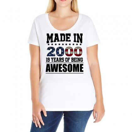 Made In 2000 19 Years Of Being Awesome Ladies Curvy T-shirt Designed By Omer Acar