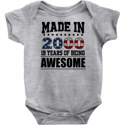made in 2000 19 years of being awesome Baby Bodysuit | Artistshot