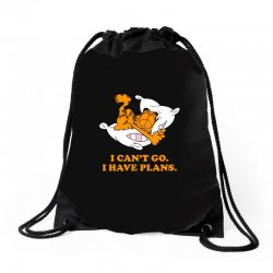 i can't go i have plans garfield Drawstring Bags | Artistshot