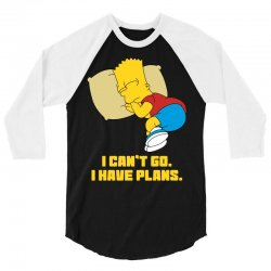 i can't go i have plans bart simpson 3/4 Sleeve Shirt | Artistshot