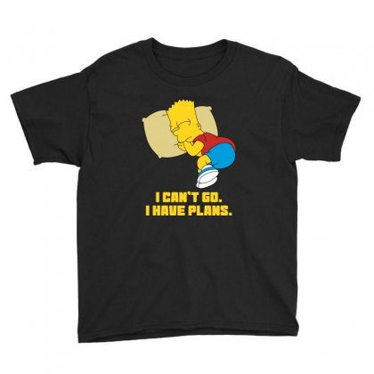 I Can't Go I Have Plans Bart Simpson Youth Tee Designed By Nurbetulk