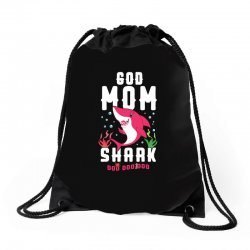 god mom shark family matching Drawstring Bags | Artistshot