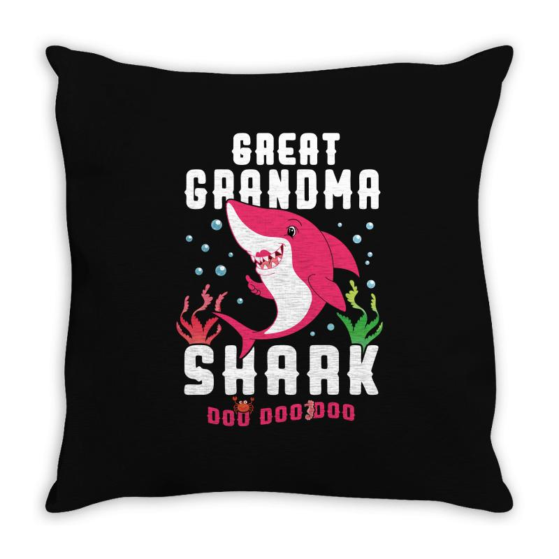 Great Grandma Shark Family Matching Throw Pillow | Artistshot