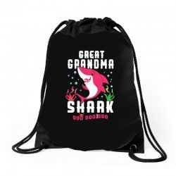 great grandma shark family matching Drawstring Bags | Artistshot