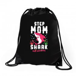 step mom shark family matching Drawstring Bags | Artistshot