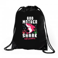 god mother shark family matching Drawstring Bags | Artistshot