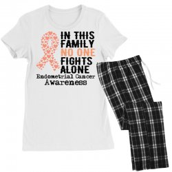 in this family no one fights alone endometrial cancer for light Women's Pajamas Set | Artistshot
