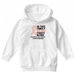in this family no one fights alone endometrial cancer for light Youth Hoodie | Artistshot
