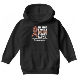 in this family no one fights alone endometrial cancer for dark Youth Hoodie | Artistshot