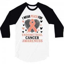 i wear black for endometrial cancer awareness for light 3/4 Sleeve Shirt | Artistshot