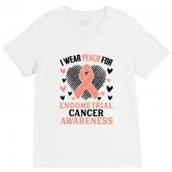 i wear black for endometrial cancer awareness for light V-Neck Tee | Artistshot