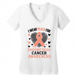 i wear black for endometrial cancer awareness for light Women's V-Neck T-Shirt | Artistshot