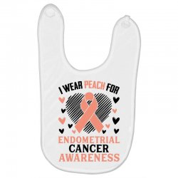 i wear black for endometrial cancer awareness for light Baby Bibs | Artistshot