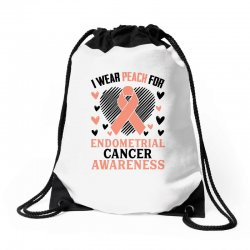 i wear black for endometrial cancer awareness for light Drawstring Bags | Artistshot