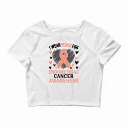 i wear black for endometrial cancer awareness for light Crop Top | Artistshot