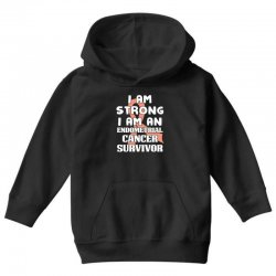 i am strong i am an endometrial cancer survivor for dark Youth Hoodie | Artistshot