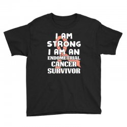 i am strong i am an endometrial cancer survivor for dark Youth Tee | Artistshot
