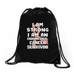 i am strong i am an endometrial cancer survivor for dark Drawstring Bags | Artistshot