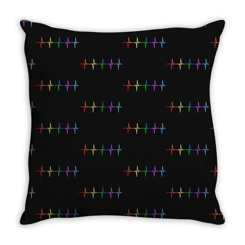 Lgbt Rainbow Heart Rhythm Throw Pillow | Artistshot