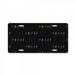 lgbt rainbow heart rhythm License Plate | Artistshot