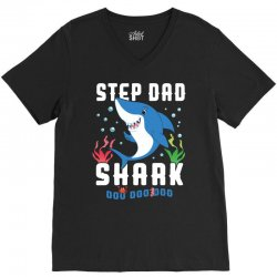 step dad shark family matching V-Neck Tee | Artistshot