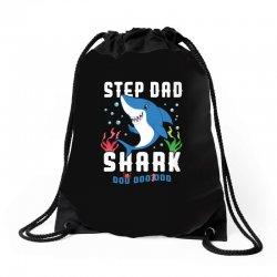 step dad shark family matching Drawstring Bags | Artistshot