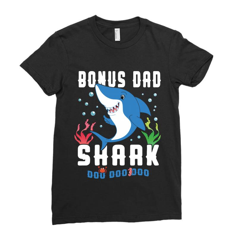 Bonus Dad Shark Family Matching Ladies Fitted T-shirt | Artistshot