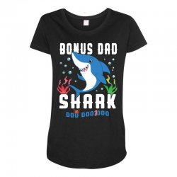 bonus dad shark family matching Maternity Scoop Neck T-shirt | Artistshot