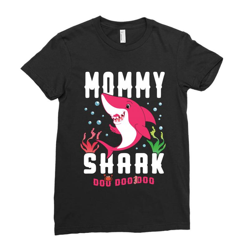 Mommy Shark Family Matching Ladies Fitted T-shirt | Artistshot