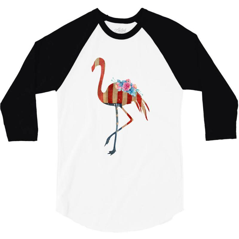 American Flag Flamingo 3/4 Sleeve Shirt | Artistshot