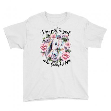 I'm Just A Girl Who Loves Horses Youth Tee Designed By Sengul