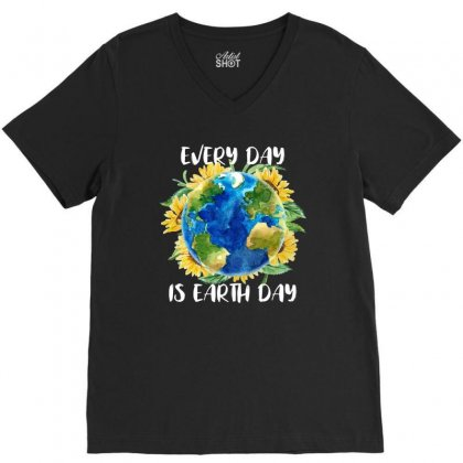 Every Day Is Earth Day For Dark V-neck Tee Designed By Sengul