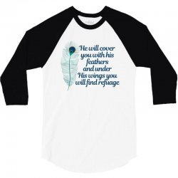 he will cover you with his feathers peacock feather 3/4 Sleeve Shirt | Artistshot
