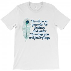 he will cover you with his feathers peacock feather T-Shirt | Artistshot