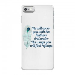 he will cover you with his feathers peacock feather iPhone 7 Case | Artistshot