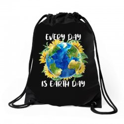 every day is earth day for dark Drawstring Bags | Artistshot
