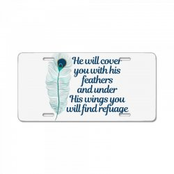 he will cover you with his feathers peacock feather License Plate | Artistshot
