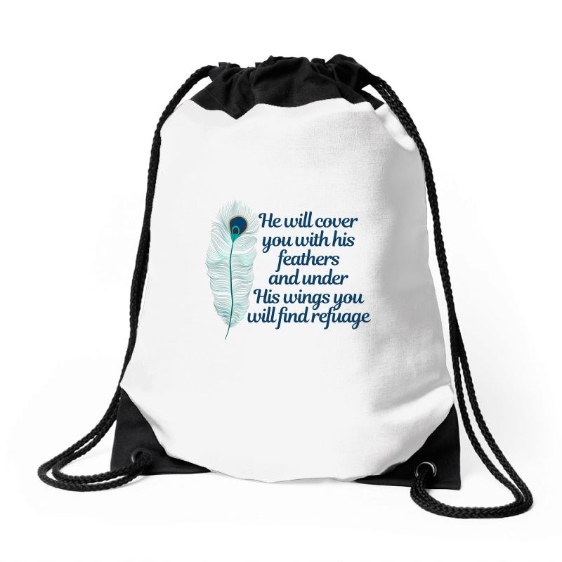 He Will Cover You With His Feathers Peacock Feather Drawstring Bags | Artistshot
