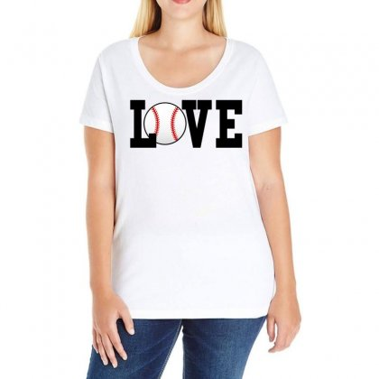 Baseball Love Ladies Curvy T-shirt Designed By Black White
