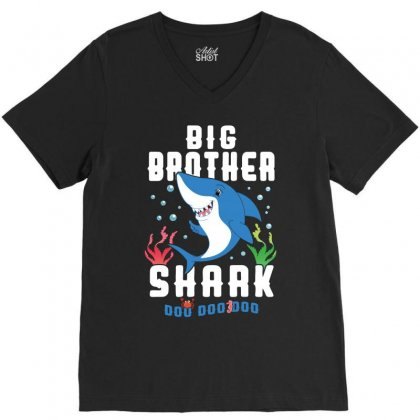 Big Brother Shark Family Matching V-neck Tee Designed By Artees Artwork
