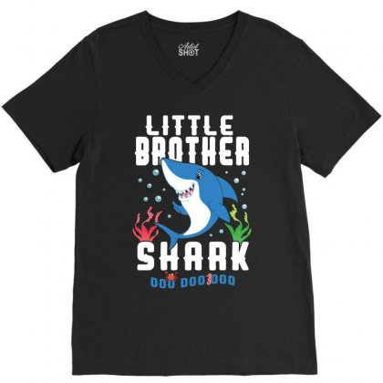 Little Brother Shark Family Matching V-neck Tee Designed By Artees Artwork