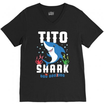 Tito Shark Family Matching V-neck Tee Designed By Artees Artwork