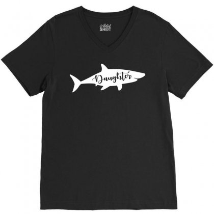 Daughter Shark V-neck Tee Designed By Artees Artwork